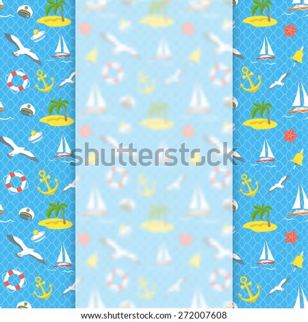 Modern flat vector blurred banner on the conceptual sea voyage traveling background. Nautical icons and objects. Summer vacation promotional flyer design - stock vector