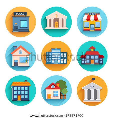 Modern flat vector buildings set. Colorful template for you design, web and mobile applications.  - stock vector
