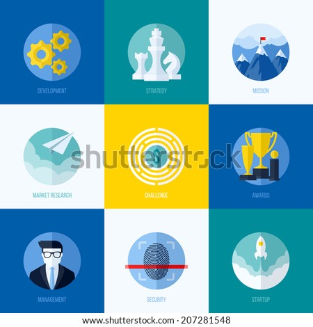 Modern flat vector concepts for websites, mobile apps and printed materials. Icons of development, strategy, mission, market research, challenge, awards, management, startup, security - stock vector