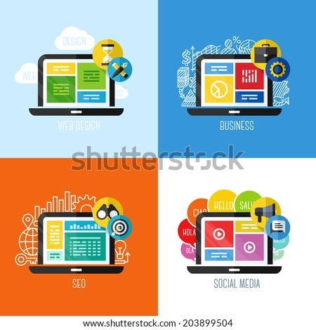 Modern flat vector concepts of web design, business, social media, SEO. Design elements set for websites, mobile apps and printed materials - stock vector