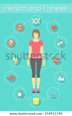 Modern flat vector fitness infographics element. Slim girl in sportswear with conceptual icons of shaping and healthy life - stock vector