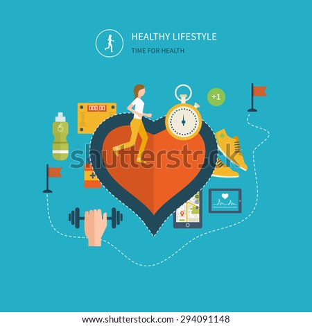 Modern flat vector icons of healthy lifestyle, fitness and physical activity. Healthy lifestyle concept. Vector mobile phone - fitness app concept on touchscreen.  - stock vector