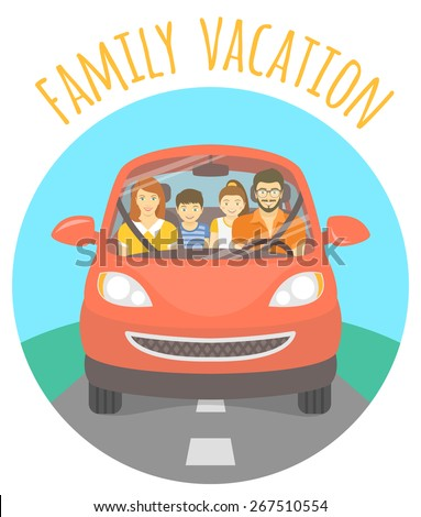 Modern flat vector illustration of a family vacation. Husband, wife, son and daughter on the way to a picnic outdoors. Front view of a happy family in red car on the road - stock vector