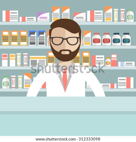 Modern flat vector illustration of a male pharmacist at the counter in a pharmacy opposite the shelves with medicines. Health care conceptual background - stock vector