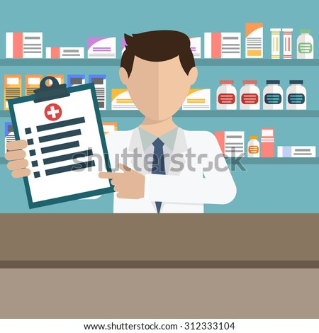 Modern flat vector illustration of a male pharmacist showing medicine description at the counter in a pharmacy opposite the shelves with medicines. Health care conceptual background - stock vector