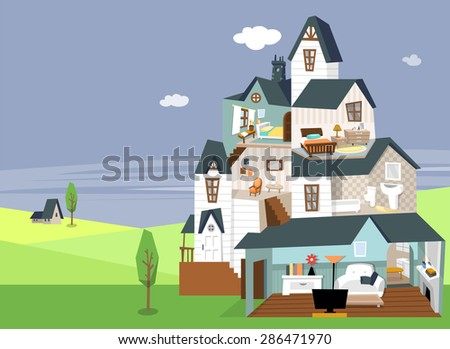 Modern flat vector illustration of a three story house with blue roof. Interior of two bedroom, bathroom and living room with furniture. Beautiful landscape of nature beyond the house in the daytime. - stock vector