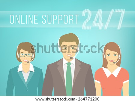 Modern flat vector illustration of young employees of call center support and help service, man and women, with headphones and inscription. Help desk online concept. - stock vector