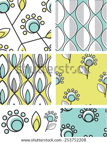 Modern floral seamless patterns. Use as fills, digital paper, or print off onto fabric to create unique items. - stock vector