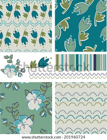 Modern Floral Vector Patterns. Use as fills, digital paper, or print off onto fabric to create unique items. - stock vector