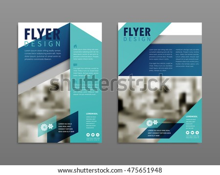 Modern flyer design, blurred office scene with blue geometric elements