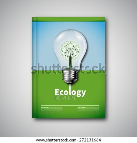 Modern flyer Vector ecology concept book cover design template - stock vector