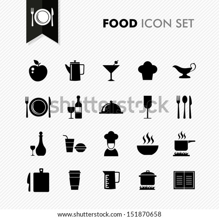 Modern food restaurant menu elements icon set. Vector file in layers for easy editing. - stock vector