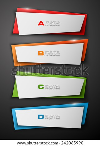 Modern four arrows origami style. Abstract template for background. - stock vector