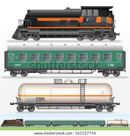 Modern Freight Train Vector Illustration. Locomotive, Cargo Tank Car and Passenger Wagon.