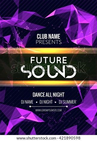Modern Future Sound Party Template, Dance Party Flyer, brochure. Night Party Club sound Banner Poster. - stock vector