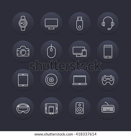 Modern gadgets line icons, dark round set, vector illustration