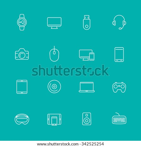 Modern gadgets line icons, isolated set, vector illustration