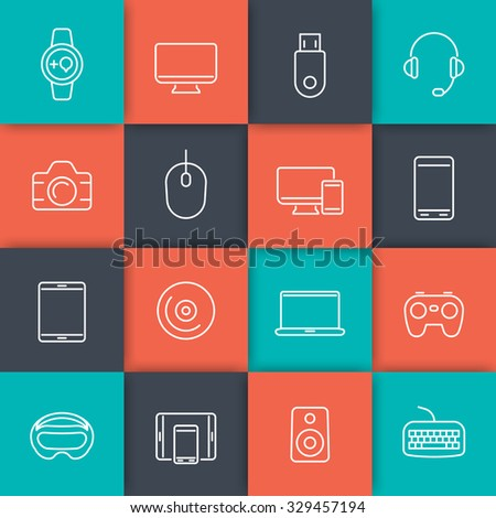 Modern gadgets line icons on squares, vector illustration