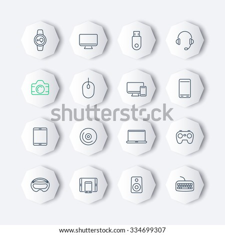 Modern gadgets line octagon icons set, vector illustration