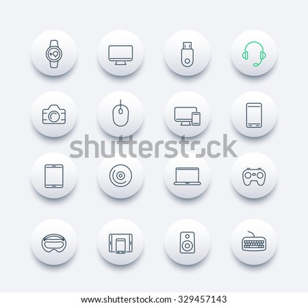 Modern gadgets line round icons, vector illustration