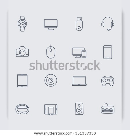 Modern gadgets thin line icons, vector illustration