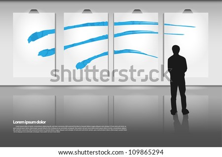 Modern gallery with lights.Fully editable eps10 - stock vector