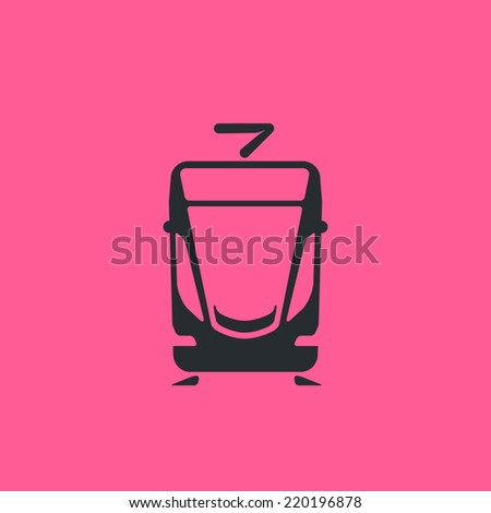 Modern general tram and LRT icon. Electric mass transit common pictogram. For maps, schemes, applications and infographics.  - stock vector