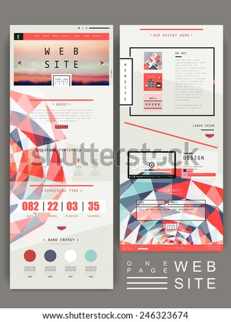 modern geometric one page website design template in flat style - stock vector