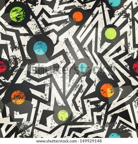 modern geometric seamless pattern with grunge effect - stock vector