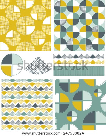 Modern Geometric Seamless Vector Patterns and Icons. Use as fills, digital paper, or print off onto fabric to create unique items. - stock vector