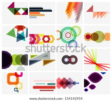 Modern geometrical art background templates set - stock vector