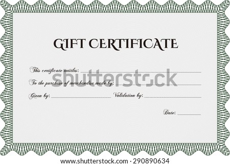 Modern gift certificate. Beauty design. With quality background. Border, frame. - stock vector