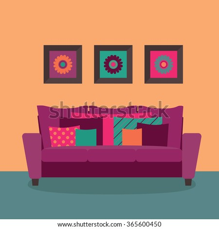 Modern girl couch with cushions. Set of three photo frames. Interior decoration design vector. - stock vector