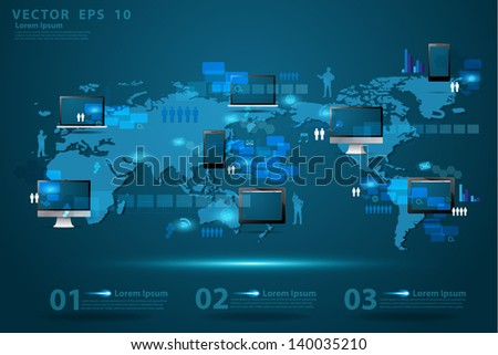 Modern global business technology concept, Creative network information process diagram elements of infographics on world map background, Vector illustration modern template design - stock vector