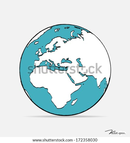 Modern globe drawing concept. Vector illustration.