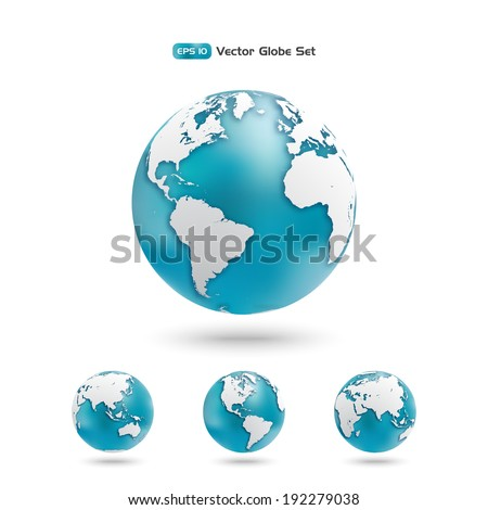 Modern Globe icon set. Planet earth in different views of the continents. Vector design elements.