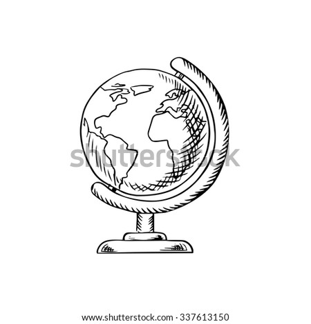 Modern globe with continents, oceans and seas on desktop stand, sketch icon for education or school themes design