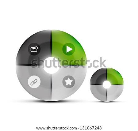 Modern glossy circles design template. Can be used as numbered banners, background template, block schemes, web layout - stock vector