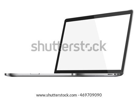 Modern glossy laptop with blank screen isolated on white background. Vector illustration. EPS10.