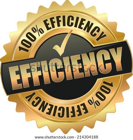 modern gold black 100% efficiency vector eps10 badge sign - stock vector