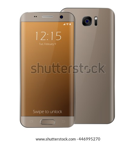 Modern gold touchscreen cellphone smartphone isolated on white background. Vector cell phone illustration. Smartphone mockup. Samsung galaxy edge style smartphone. Front and back side of cell phone. - stock vector