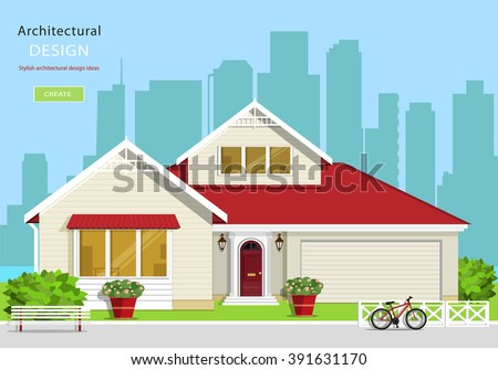 Modern graphic architectural design. Colorful set: house, bench, yard, bicycle, flowers and trees. Flat style vector illustration. - stock vector