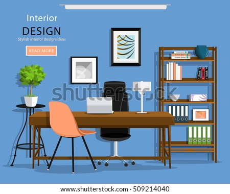 Modern Graphic Office Room Interior: Desk, Chairs, Bookcase, Laptop, Lamp. Part 80