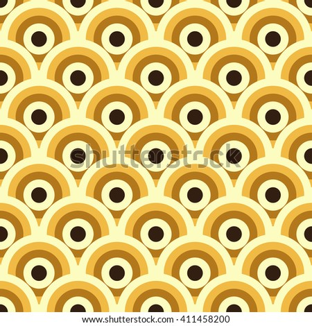Modern graphic seamless pattern of geometric circles shapes decorated in warm ocher colors. Trendy pattern with abstract ornament. Abstract geometric background in vector