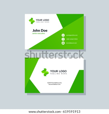 Modern green business card template flat stock vector 619591913 modern green business card template in flat design abstract background personal plain design with accmission Image collections