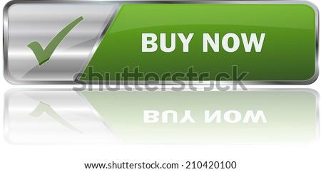 modern green buy now sign - stock vector