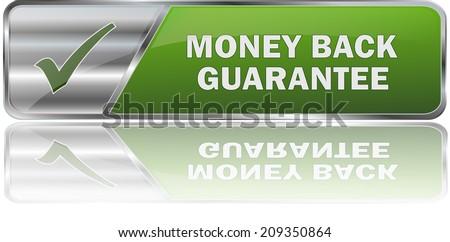 modern green cash back guarantee button - stock vector