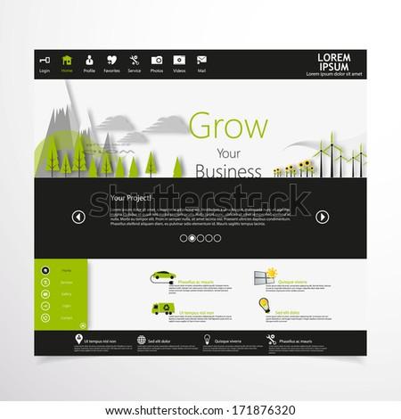 Modern green eco website  - stock vector