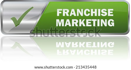 modern green franchise marketing label sign - stock vector