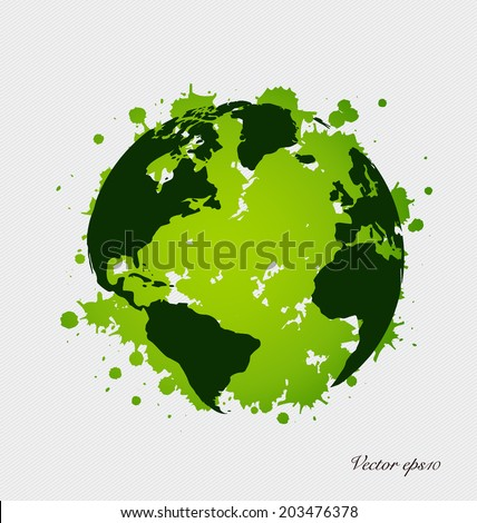 Modern green globe. Vector Illustration. - stock vector